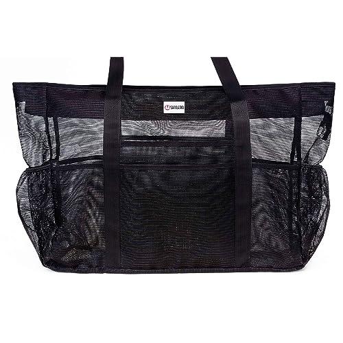 f2ea95c8c34c SHYLERO Mesh Beach Bag w 100% Waterproof Phone Case, Padded Ribbon Handles,  Top Zip, Expendable Side Pockets. Black Shoulder Beach Tote has Built-in ...