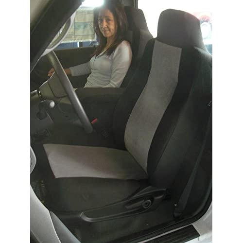 Durafit Seat Covers Made to fit 2002-2003 Ford Ranger 60//40 Split Seat with Opening Center Console Seat Covers in Black//Gray Velour Fabric