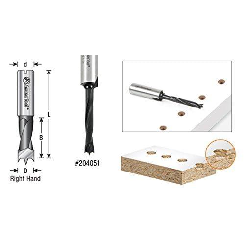 Amana Tool 304008 Carbide Tipped Brad Pt Boring Bit L//H 8mm Dia x 70mm Long x 10mm Sh