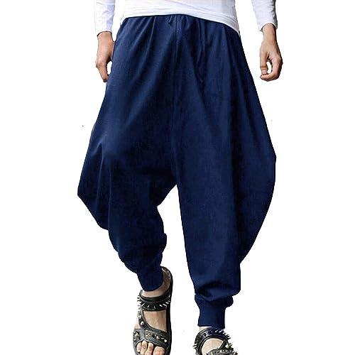 45dda3e881009 Buy PERDONTOO Men's Casual Elastic Waist Baggy Hippie Yoga Harem ...