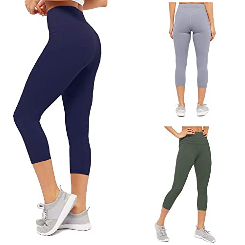 CAMPSNAIL Plus Size High Waisted Leggings for Women Yoga Pants Seamless Capri Leggings Compression Workout Leggings Girls