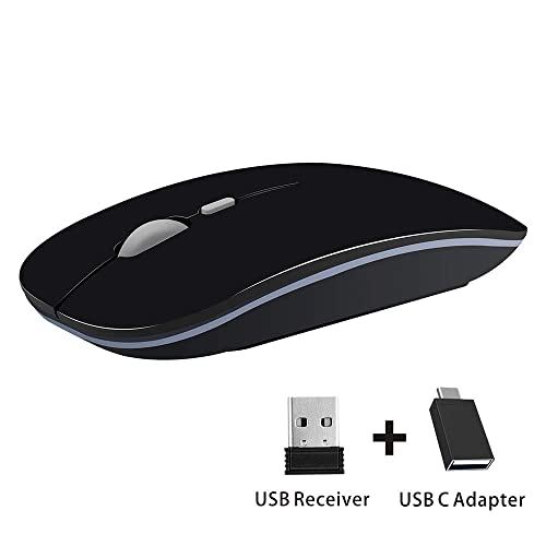 Computer Black Laptop Adjustable DPI Auto-Sleep Mode Ultra-Slim Smooth Computer USB Mice for Air MacBook PC Tablet KOMO Bluetooth Mouse Wireless Rechargeable Notebook