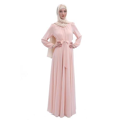 Abaya Muslim Maxi Dress Robe Kaftan Islam Long Sleeve Orange Black SIZE 8 10 12