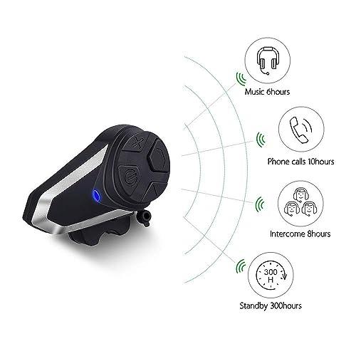 Fodsports BT-S3 Motorcycle Helmet Intercom Headset 2 Packs of Hard Headphone 1000M Motorbike Helmet Communication System Interphone GPS FM Radio Bluetooth Motorcycle Headsets Up to 2-3 Riders