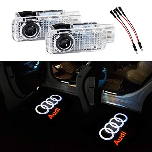 Flyox YBD-02 Car Door LED Lighting Entry Ghost Shadow Projector Welcome Lamp Logo Light for Audi Series 2 Pack