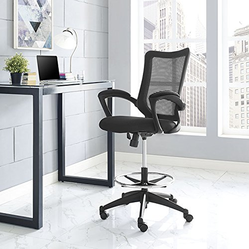 Pleasant Buy Modway Project Drafting Chair In Black Reception Desk Creativecarmelina Interior Chair Design Creativecarmelinacom