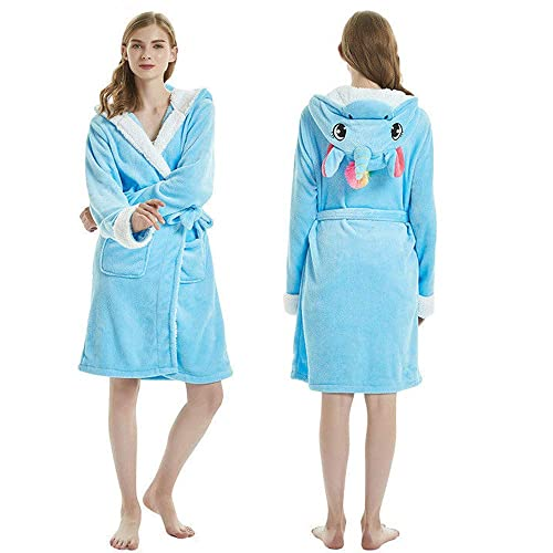 etitek Kids Unicorn Robe Bathrobe Soft Plush Hooded Sleepwear Housecoat Loungewear