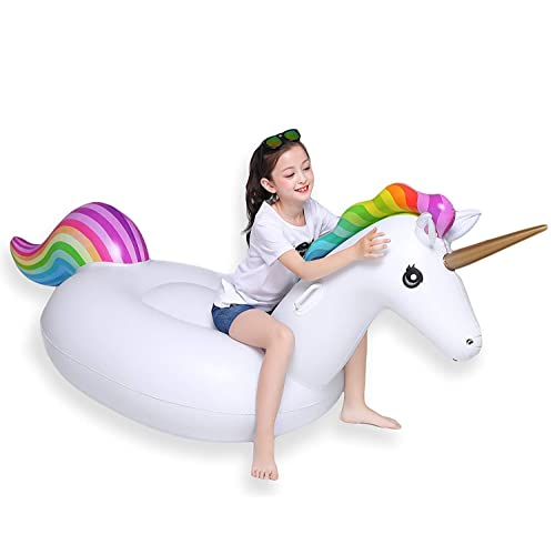 Pool Float Island Water Games Blow Up Ride Toy Portable Folding Fast Inflation for Kids Pool Lounger Holiday Pool Party Lavigo Unicorn Giant Inflatable Ride On Summer Fun Beach Swimming