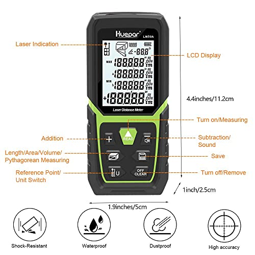 Pythagorean Huepar Laser Distance Measure 164Ft//50M with Li-ion Battery /& Electric Angle Sensor Area/&Volume-LM50A Distance Backlit LCD Laser Measure M//in//Ft with Multi-Measurement Modes