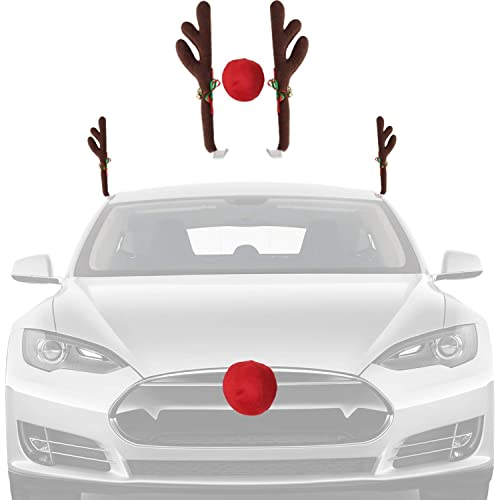 Funny Rudolph Red-Nosed Reindeer Antlers w//Ears Car Kit Set Christmas Decoration