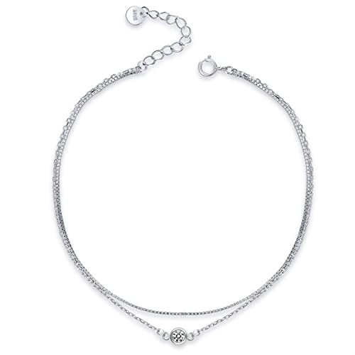 Chic /& Artsy 925 Sterling Silver Star Layered Cross Anklet for Women Girl Dainty Adjustable Bracelets Beach Style Foot Ankle Jewelry Gift