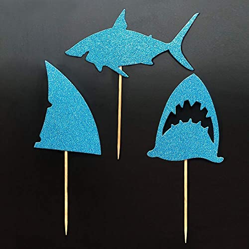 Shark Fin Cupcake Toppers ALISSAR 24-Pack Glitter Shark Cupcake Toppers Shark Themed Party Supplies Decorations Kids Baby Shower Birthday Favor.