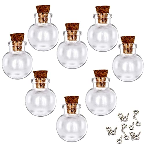 24 PCS Small Mini Transparent Clear Glass Jars Little Bottles With Cork Stoppers