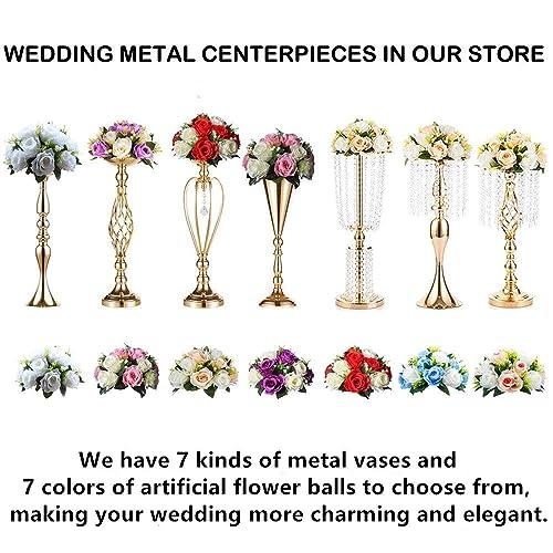 "Sliver Centerpieces for Wedding Candle Holder 11pcs Flower Rack Vase 15/"" Height"