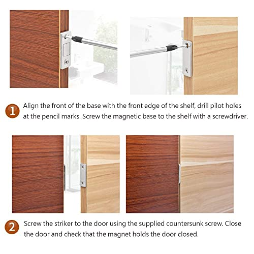 Jovitec 12 Sets Magnetic Door Catch Cabinet Door Latch with Screws and Adhesive for Home Office Furniture Cabinet Cupboard