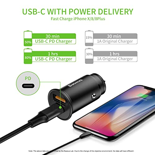 Fasgear up to 36W Dual Type C PD Fast Car Charger with Quick Charge 3.0 /& 18W Power Delivery Compatible for iPhone 11 Pro Max//X//XS//XR//SE,iPad Pro,Galaxy S20+,S10,Oneplus USB C PD Car Charger Black