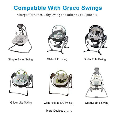 DuetSoothe Glider Petite LX DuetConnect LX Glider Lite Glider Elite Sweetpeace Glider LX Lovin Hug Glider Premier 【UL Listed】 Nokker 5V Swing Power Cord for Graco Swings: Simple Sway