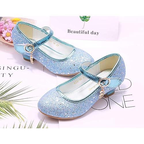XinYiQu Girls Low Heels Girls Dress Shoes Princess Bowknot Glitter Mary Jane Shoes