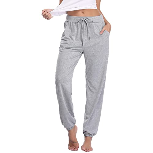 Insenver Womens Comfy Casual Pajama Pants Pockets Yoga Drawstring Palazzo Lounge Wide Leg Pants