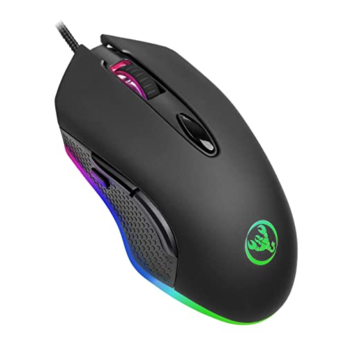 ERUN Gaming Mouse Wired Black 6 Programmable Buttons 16.8million Chroma RGB Backlit 4800 DPI Adjustable Comfortable Grip Ergonomic Optical PC Computer Gaming Mice with Fire Button Mouse