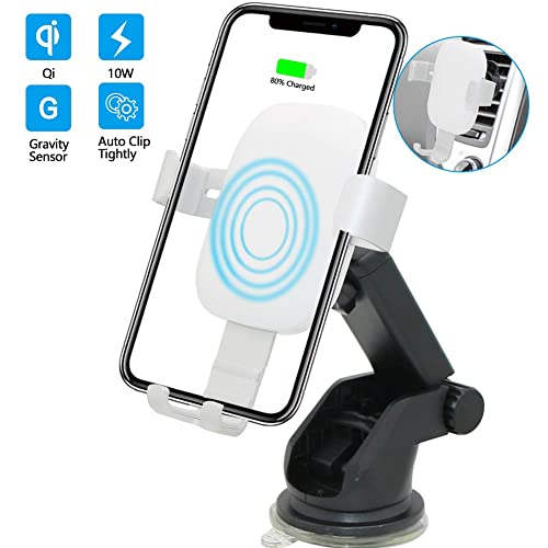 Infrared-sensing 10W Fast Charging Wireless Car Charger,3 in 1 Dashboard/&Windshield/&Air Vent Mount Car Phone Holder Compatible for Samsung Galaxy Note9 S9 S8 Plus,iPhone X//XR//XS Max,QI-Enabled Phone