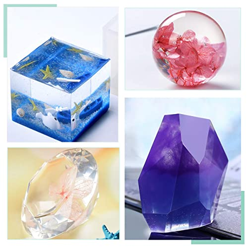 Diamond Cubic Triangular Pyramid,Pyramid,Stone Shape Mold MSDADA Resin Casting Molds with Manual,Jewelry Making DIY Craft Measurement Cups,Wood Sticks 6 Pack,Including Spherical