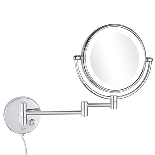 Dowry 8 Inch 10x Magnification Wall, Pansonite Led Wall Mount Makeup Mirror With 10x Magnification