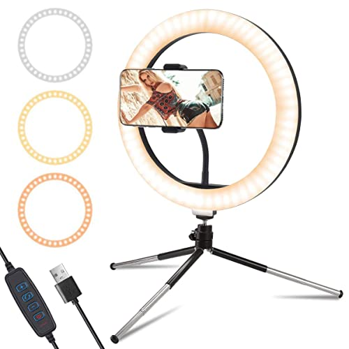 Mini LED Light with Mini Tripod Desktop LED Lamp with 3 Light Modes LKG 6-Inch Ring Light with Tripod Stand for YouTube Video and Makeup