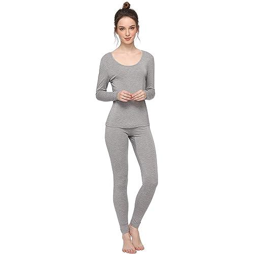 MAXMODA Womens Long Johns Thermal Underwear Sets Base Layer Top /& Bottom 2 Piece Set