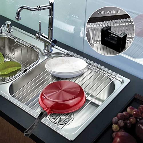 Learja Foldable Multipurpose Heat Resistant Large Kitchen Rollup Dish Drainer Over Sink 304 Stainless Steel Dish