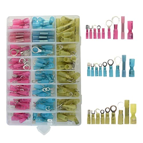 480Pcs Heat Shrink Wire Connectors Assortment Crimp Terminals Marine Case Kits