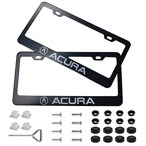 Black Luluhome License Plate Frame 2 Pieces Black Stainless Steel Car Licence Plate Covers