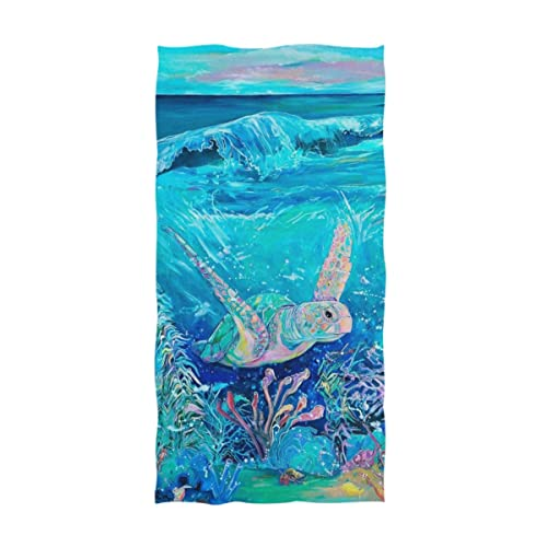Gym and Spa Hotel 16 x 30,Floral Naanle Chic Magic Colors Mermaid Fish Scales Print Soft Absorbent Large Hand Towels Multipurpose for Bathroom