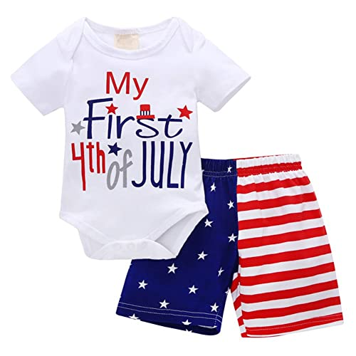 4th of July Baby Boy Girl 1st Independence Day US Flag Romper Pant Hat Outfits