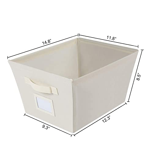 Set of 6 MAX Houser Storage Bins Cubes Baskets Containers with Dual Handles for Home Closet Bedroom Drawers Organizers Foldable Beige