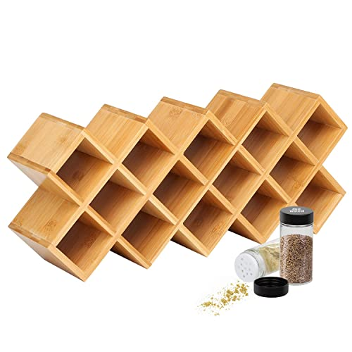 4 Tier Bamboo Countertop Spice Rack Organiser 18 Jar Criss Cross
