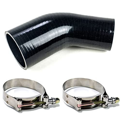 76 MM to 102 MM Leg Length 3.5 Inch Black I33T 90-Deg Elbow Reducer Coupler 3-Ply Universal Automotive Silicone Hose Inner Diameter 3 Inch to 4 Inch