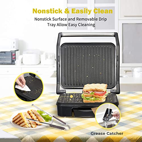 4 Serving Grill and Panini Press Removable Plate Non Stick with Drip Tray Black