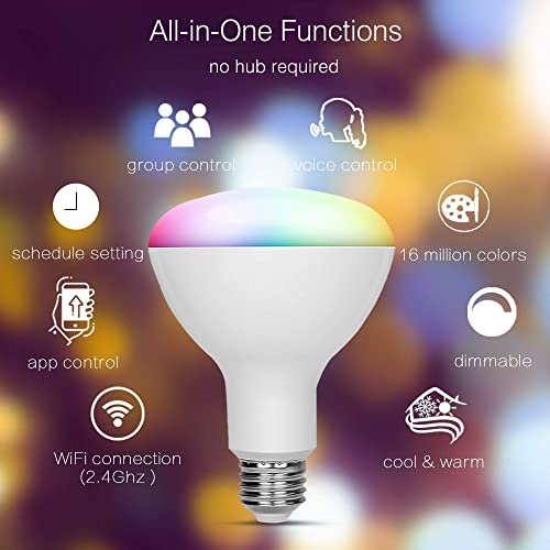 IFTTT /& Phone BtcLink Multicolor Smart Bulbs Compatible with Alexa 80W Google RGBCW Smart WiFi Light Bulb 7W - 4 Packs Smart Light Bulb Dimmable Smart WiFi LED Bulb No Hub Required