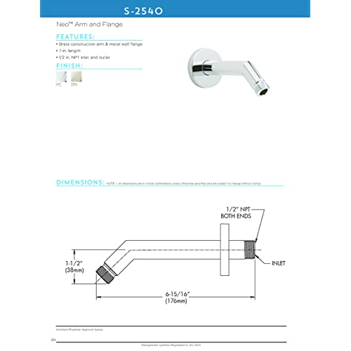 Speakman S-2540 Neo 7 in Polished Chrome Shower Arm and Flange