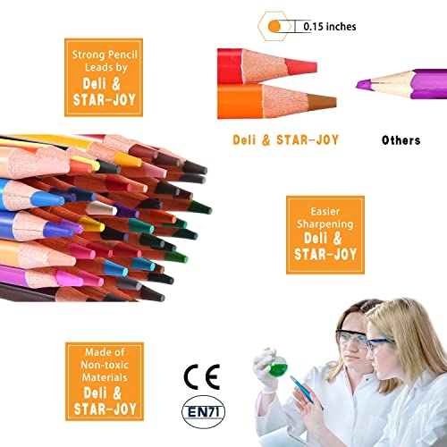 SJ STAR-JOY 72 Colored Pencils Professional Set for Adult Coloring Books Oil based soft core Perfect Holiday Gifts for Artist Drawing Premium Art Coloring Pencils with Vibrant Color