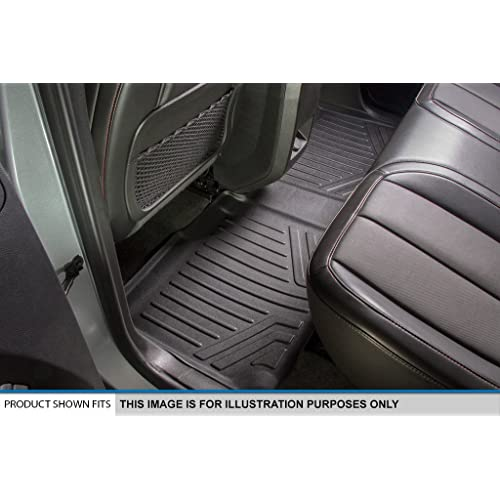 SMARTLINER Floor Mats 3 Rows and Cargo Liner Behind 3rd Row Set Black for 2015-2018 Suburban Yukon XL with 2nd Row Bench Seat