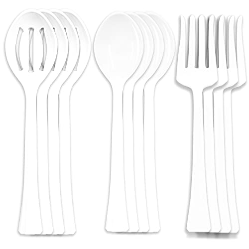 """Four 6-1//2/"""" Tongs Gold Four 10/"""" Spoons and Forks Heavy Duty Disposable utensil,12 Pack Plastic Serving Utensils"""