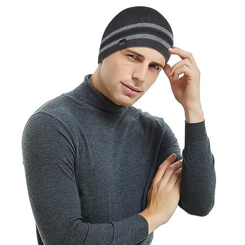 d191450fc Buy OMECHY Mens Winter Beanie Hat Warm Cuff Toboggan Knit Ski Skull ...