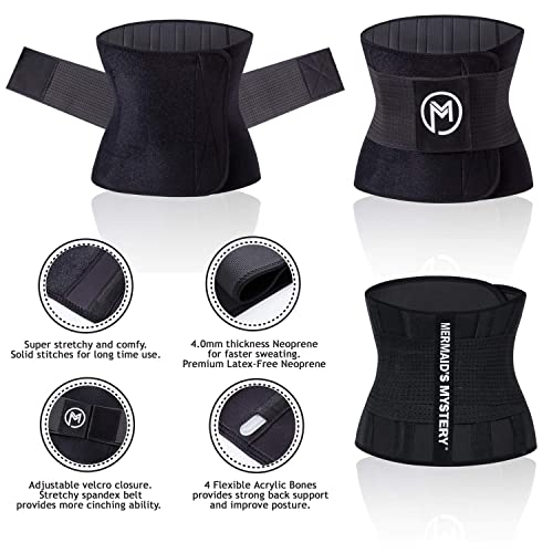Neoprene Sweat Waist Trainer Belt Velco Adjustable Belly Sweat Belt for Women Men with Phone Bag Stomach Wrap Upgraded Youtec Waist Trimmer Workout Sport Band