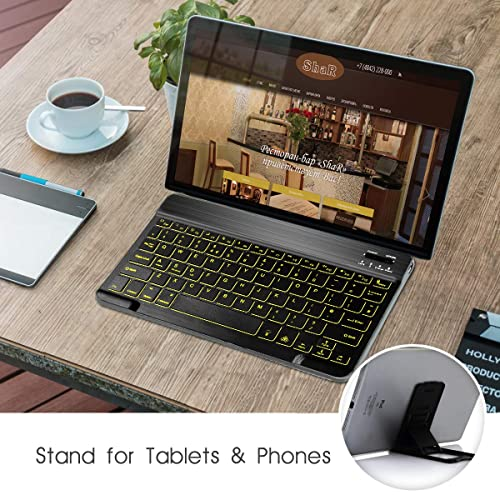 Coastacloud Ultra Slim Backlit Wireless Bluetooth Keyboard Universal Portable 7-Colors Backlit Rechargeable Keyboard with Stand for iPad iPhone Samsung iOS Android Windows Tablets Phones