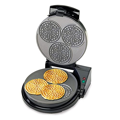 Renewed Black ChefsChoice 839 KrumKake Express Krumkake Cookie Maker with Color Select Quick Baking Instant Temperature Recovery Fast Bake Easy to Clean with Overflow Channel Includes Cone Roller