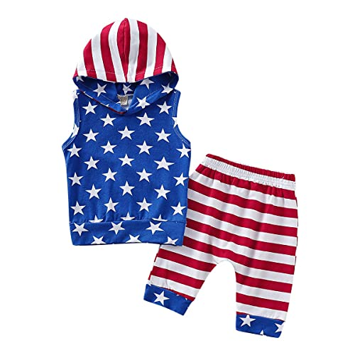 My First 4th of July Newborn Baby Boy Outfits American Flag Summer Romper Pants Independence Day 2PCS Set