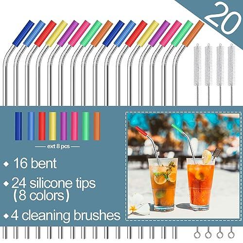 71d4ed4fb39 Stainless Steel Straws,Set of 16 10.5