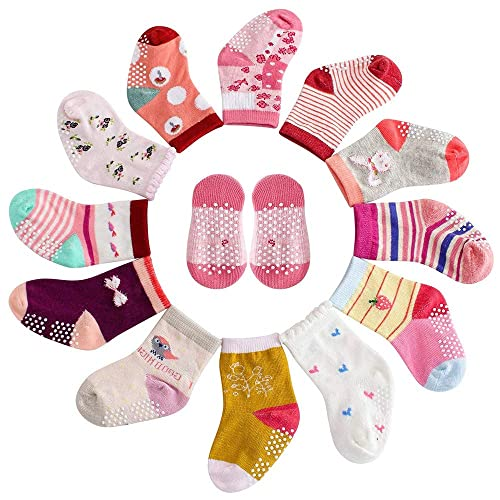 6 Pairs Assorted Anti Slip Ankle Cotton Socks with Grip Baby Toddler Non-skid...